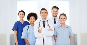 Group of happy doctors at hospital Royalty Free Stock Photography