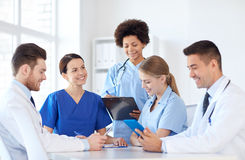 Group of happy doctors meeting at hospital office Royalty Free Stock Images