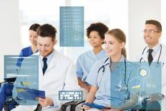 Group of happy doctors on seminar at hospital royalty free stock photos