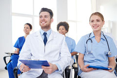 Group of happy doctors on seminar at hospital Royalty Free Stock Photography
