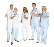 Group of happy doctors with thumbs up Royalty Free Stock Images