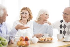 Group of happy elderly people. Spending lunch time together royalty free stock photography