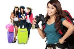 Happy excited female traveler Stock Photography