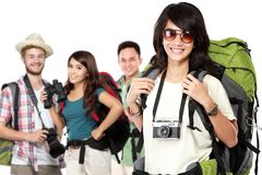 Happy excited traveler. Group of happy excited traveler. summer vacation concept Royalty Free Stock Photo