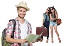 Happy excited traveler Stock Photography
