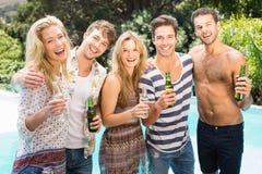 Group of happy friend having beer Stock Photos