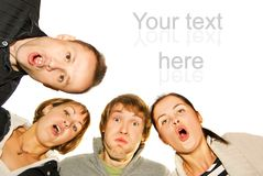 Group of happy friends. Making surprised faces Stock Photo