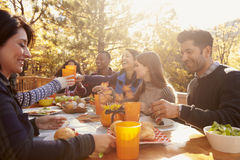 Group of happy friends eat and drink at a table at a barbecue royalty free stock images