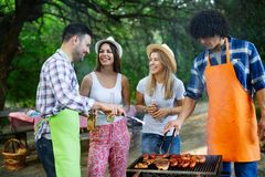 Group of happy friends eating and drinking beers at barbecue dinner stock photo