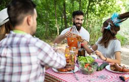 Group of happy friends eating and drinking beers at barbecue dinner royalty free stock images