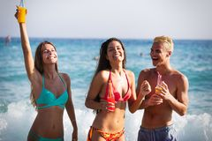 Group of happy friends enjoying the beach at summer. Group of happy friends enjoying the beach with drinks at summer stock photo