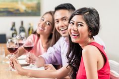 Happy friends enjoying drinks royalty free stock images