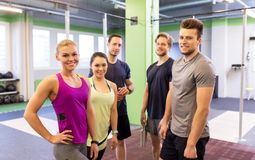 Group of happy friends in gym Royalty Free Stock Images