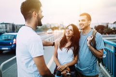 Group of happy friends hang out together Royalty Free Stock Image