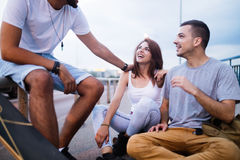 Group of happy friends hang out together Stock Image