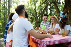 Group of happy friends having a barbecue party in nature stock photo