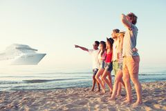 Group of happy friends having fun at ocean beach. Travel with cruiseship concept royalty free stock photography