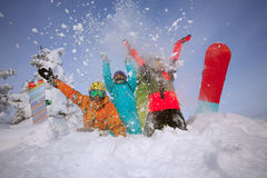 Group happy friends having fun at Sheregesh ski resort. Royalty Free Stock Photos