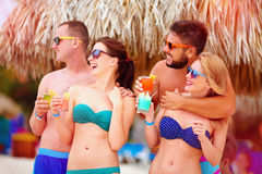 Group of happy friends having fun on tropical beach, summer holiday party Royalty Free Stock Images