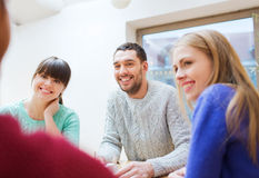 Group of happy friends meeting and talking Stock Photography