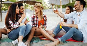 Group of happy friends partying on beach. And having fun Royalty Free Stock Image