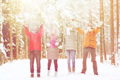 Group of happy friends playin with snow in forest Stock Photos