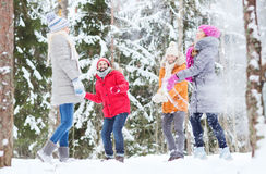 Group of happy friends playing snowballs in forest Stock Photos