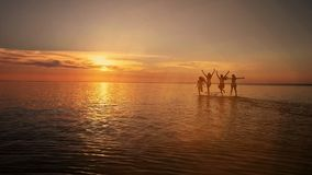 Group of happy friends running in to water at sunset - Silhouettes of active people having fun on the beach on vacation stock video footage