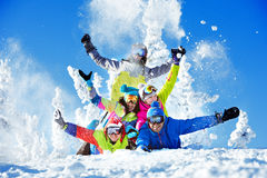 Group happy friends ski resort royalty free stock image