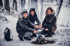 A group of happy friends staged a camping in the midst of a snowy forest. Sitting around a campfire and warming their hands stock photos