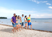 Group of happy friends walking along beach Stock Photos