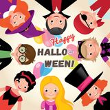 Group of happy funny children in a festive Halloween party. Poster or invitation to celebrate Halloween. Stock Vector Illustration Stock Photos