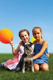 Group of happy girls with balloons Royalty Free Stock Photography