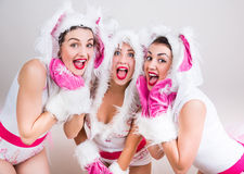 Group of happy girls dressed in rabbit costumes Stock Photo