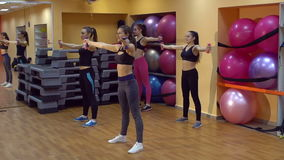 Group of happy girls train in the gym with dumbbells, slow motion. stock footage