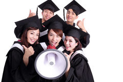 Group of happy graduates student Stock Photo