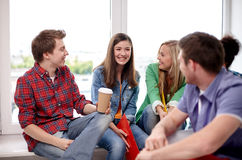 Group of happy high school students or classmates Stock Photo