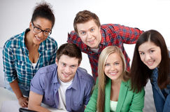 Group of happy high school students or classmates Royalty Free Stock Photography