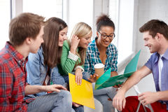 Group of happy high school students or classmates Stock Photos