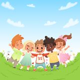 Group of happy joyful children on a green glade and the background of blue sky with clouds. Vector illustration stock illustration