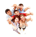 Group of happy joyful friends standing with hands Royalty Free Stock Photo