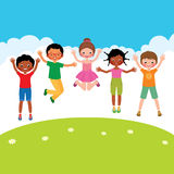 Group of happy jumping children of different nationalities Royalty Free Stock Image