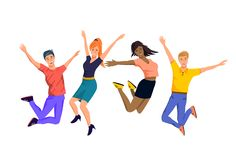 A Group of Happy Jumping People stock illustration