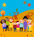 Group of happy kids,autumn Stock Photography