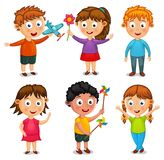 Group of happy kids cartoon vector Stock Photos