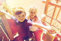 Group of happy kids on children playground stock images