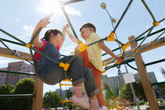 Group of happy kids on children playground Royalty Free Stock Photo
