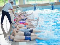 Group of happy kids children at swimming pool Royalty Free Stock Photos