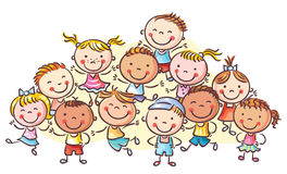 A group of happy kids, no gradients royalty free illustration