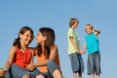 Group of happy kids talking Stock Photo